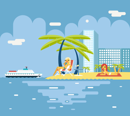 girl drinking water: Gigls Sunny Beach Planning Summer Vacation Tourism Journey Symbol Ocean Sea Travel background Flat Design Concept Template Vector Illustration Illustration