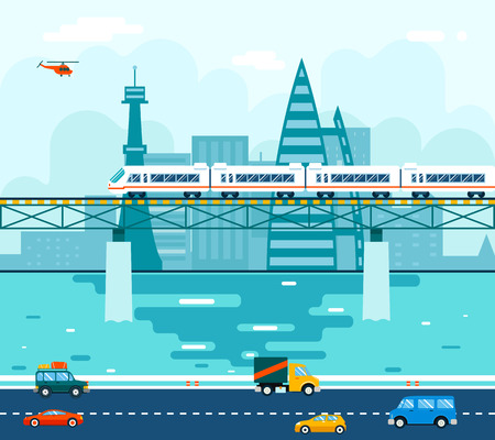 railway transportations: Road Cars Wagons on Bridge over River Transport Symbol Railroad Train Travel Concept City Sky Background Flat Design Vector Illustration Illustration