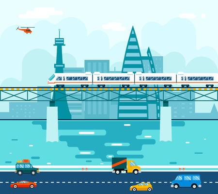 treno espresso: Strada Auto Carri su Ponte sul fiume Trasporti Simbolo Railroad Train Travel Concept Città Sky illustrazione sfondo piatto Vector Design