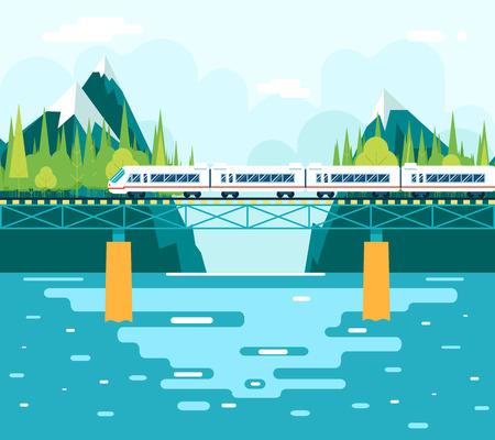 Vagones en el puente sobre el río Ilustración de vector