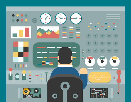 control system: Scientist businessman work in front of control panel analysis production development study flat design concept illustration Illustration