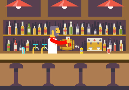 nightclub bar: Bar Restaurant Cafe with Barkeeper Character Symbol Alcohol House Interior Icon Background Concept Flat Design Template Vector Illustration