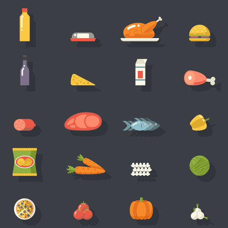 food illustrations: Food Icons Set Meat Fish Vegetables Drinks for Cooking Symbols Healthy and Healthsome on Stylish Background Flat Design Template Vector Illustration Illustration