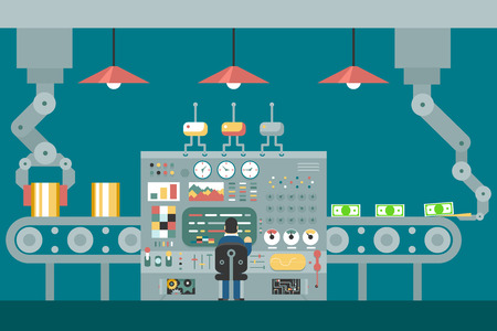 development process: Conveyor robot manipulators work businessman in front of control panel analysis production development study flat design concept illustration Illustration