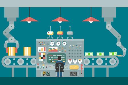 fliesband: F�rderrobotermanipulatoren arbeiten Gesch�ftsmann vor Bedienfeld Analyse Produktentwicklung Studien flache Bauweise Konzept Illustration