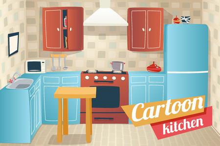Kitchen Furniture Accessories Interior Cartoon Apartment House Room Retro Vintage Background Vector Illustration 일러스트