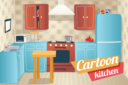 domestic kitchen: Kitchen Furniture Accessories Interior Cartoon Apartment House Room Retro Vintage Background Vector Illustration Illustration