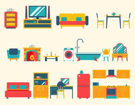 chambre � coucher: Meubles Maison Ic�nes et symboles int�rieur Set Salon Cuisine Chambre Salon Salle de bain Cabinet d'espaces Conception Illustration