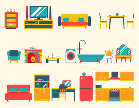 Furniture House Interior Icons and Symbols Set Living Room Kitchen Bedroom Lounge Bathroom Cabinet Office Flat Design Illustration