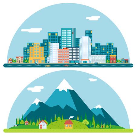 Primavera urbana y rural City Village Day Real Estate Verano paisaje de fondo Ilustración Flat Design Concept Plantilla Icono