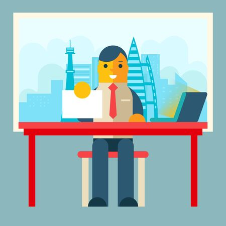 writing chair: Businessman Sitting Table with Paper Contract  Corm Sign Window City Background Flat Design Concept Template Vector Illustration
