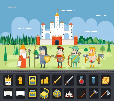 RPG Adventure  Mobile Tablet PC Web Game Screen Concept Mage Knight Archer Bard Barbarian Warrior Characters Flat Design Castle Cartoon Magic Fairy Tail Icon Landscape Background Template Vector Illustration