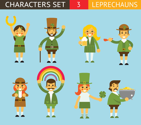 leprechauns: Leprechauns Ggnomes Characters set Celebration St. Patrick Icons Flat Design Icon Stylish Background Template Vector Illustration
