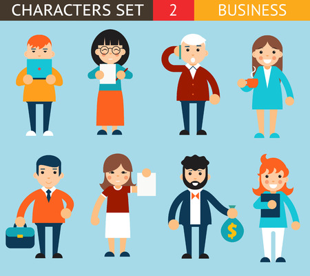 business pen: Business Male and Female Characters with Accessories Expressions Icons Set Flat Design Concept Vector Illustration