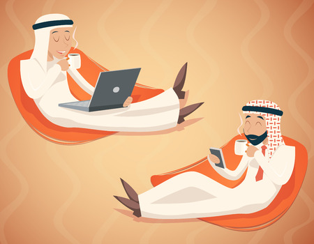 emirates: Arab Businessman Chat Laptop Mobile Phone Drink Coffee Tea Symbol Icon on Stylish Background Retro Cartoon Design Vector Illustration