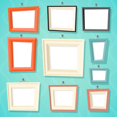 スタイリッシュな壁背景レトロなデザインのベクトル図に図面枠テンプレート アイコンを設定を絵画ヴィンテージ漫画写真画像