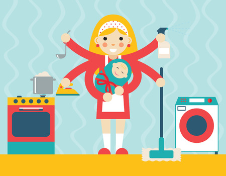child smiling: Housewife symbol with child and accessories icons on stylish background flat design concept template vector illustration