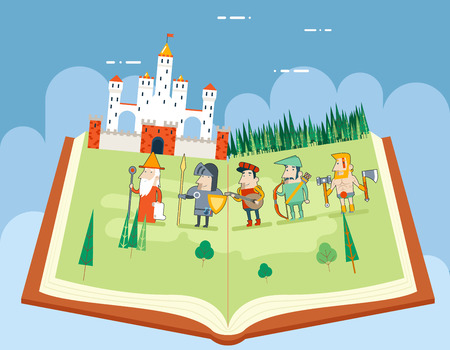 tales: Fairy Tales History Books Reading Concept Symbol Castle Forest Field on Sky Background Flat Design Icon Template Vector Illustration
