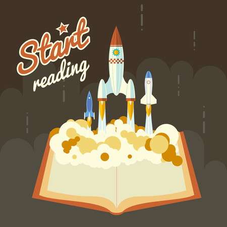 science fiction: Start Reading Science Fiction Space Poster Concept Symbool Roket Ship Launch Flat Design Icon Template Vector Illustration