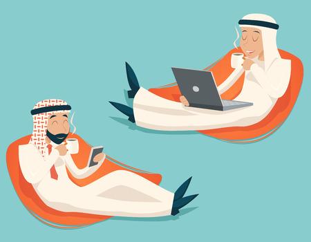hombre arabe: Chat en árabe Empresario ordenador portátil del teléfono móvil café de la bebida símbolo del icono del té en el fondo con estilo retro Ilustración de dibujos animados de diseño vectorial