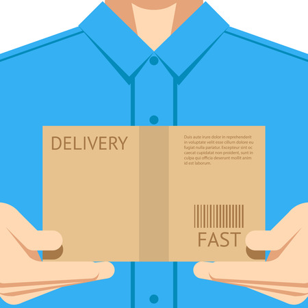 courier service: Delivery courier postal man delivering package flat design background concept vector illustration