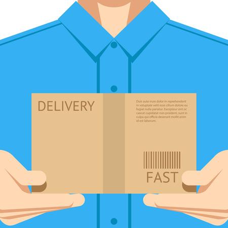 courier delivery: Delivery courier postal man delivering package flat design background concept vector illustration