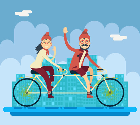 bicycles: Hipster Male Female Characters Riding Companion Tandem Bicycle Concept Urban Landscape City Street Background Creative Flat Design Vector Illustration