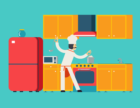 lunch room: Chief Cook Food Dish Room Kitchen Furniture House Interior Icons and Symbols Flat Design Vector Illustration