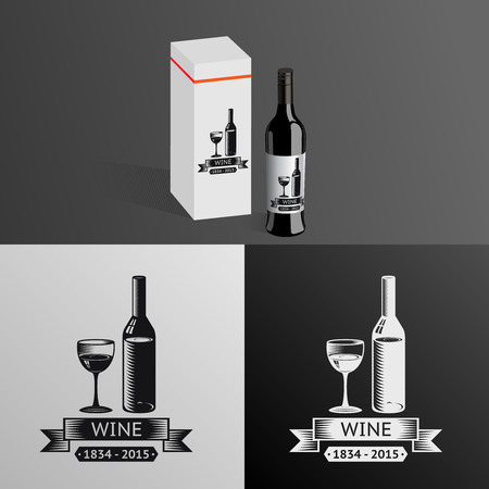 Wine Alcohol Drink Logo Symbol Bottle Glass ribbons Icon Box Mockup Template Vector Illustration Vector