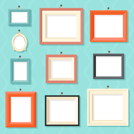 art gallery interior: Vintage Cartoon Photo Picture Painting Drawing Frame Template Icon Set on Stylish Wall Background Retro Design Vector Illustration