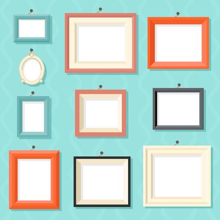 Weinlese-Karikatur-Foto-Bild-Rahmen-Schablone Gemälde Zeichnung Icon Set auf stilvolle Wall Background Retro Design Vector Illustration