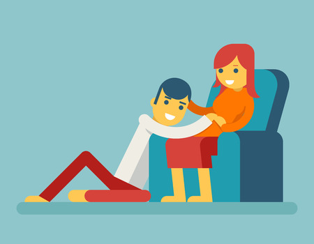 Happy Family Husband and Pregnant Wife Sitting on Couch Hugging Child in Stomach Icon Symbol Flat Design  Vector