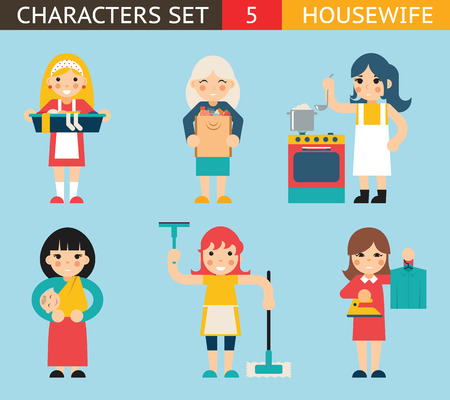 Housewife Characters Icon Set Symbol with Accessories on Stylish Background Flat Design Concept Template Vector Illustration Ilustração