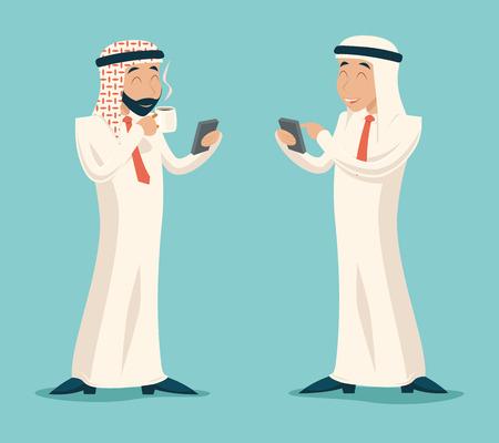 Arab Businessman Drink Coffee Tea Chat Mobile Phone Symbol Icon on Stylish Background Retro Cartoon Design Vector Illustration