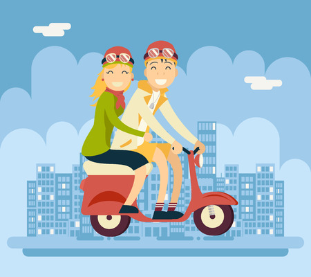 tandem bicycle: Hipster Male Female Couple Characters Riding Schooter Concept Urban Landscape City Street Background Creative Flat Design Vector Illustration
