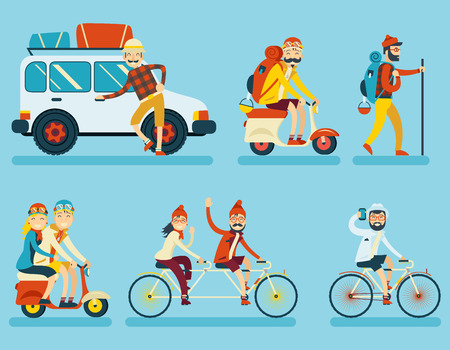 travellers: Happy Smiling Man Geek Hipster Character with Car Traveler Backpack Schooter Bike Icon Travel Lifestyle Vacation Tourism and Journey Symbol Background Flat Design Template Vector Illustration Illustration