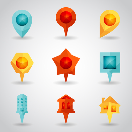 showplace: Landmark and Showplace Symbol Map Pointer Mark Polygon Icons Vector Template Illustration Illustration