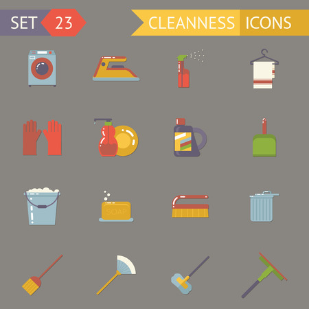dusting: Retro Household Cleaning Symbols Accessories Icons Set Flat Design Template Vector Illustration