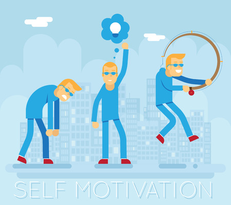 the stimulus: Hipster Characters Self Motivation Concept Urban Landscape City Street Background Creative Flat Design Vector Illustration