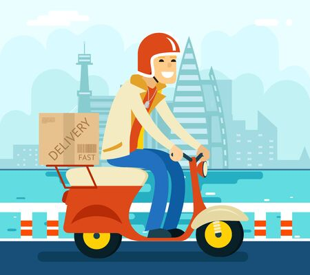 delivery boy: Courier Delivery on Scooter Symbol Icon Concept City Sky Background Flat Design Vector Illustration Illustration