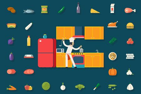cook house: Chief Cook Food and Dish Room Kitchen Furniture House Interior Icons Symbols Set Flat Design Vector Illustration