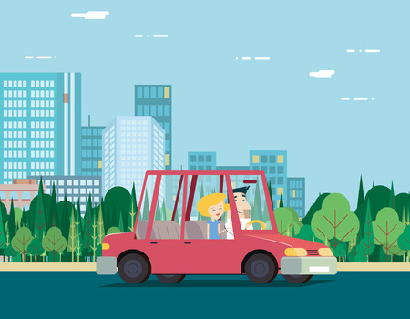 Summer Day Nature Vacation Couple Car Travel Background City Landscape Flat Design Concept Icon Template Vector Illustration