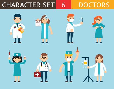 enfermera con cofia: Médico y enfermera Personajes Madical Icon Set Símbolo con accesorios en el fondo con estilo de diseño de ilustración Concepto Flat plantilla de vectores