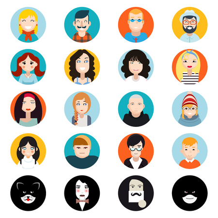 trendy male: Stylish Handsome Male and Female Characters Avatar Collection of Faces Icons in Flat Design Vector Illustration