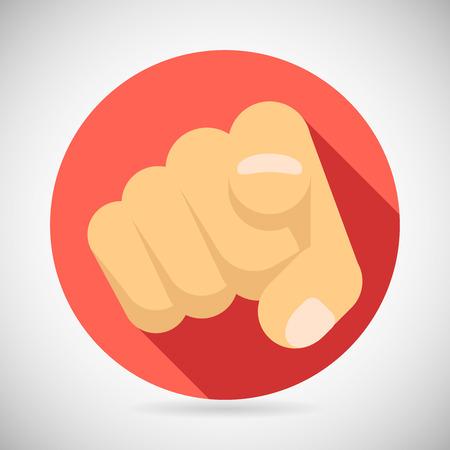 dedo apuntando: El señalar del dedo Político Cliente Potencial Businesman Elegido Ilustración Icon Concept plana diseño vectorial Vectores