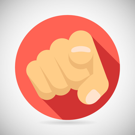 forward icon: Pointing Finger Potential Client Politician Businesman Elected Icon Concept Flat Design Vector Illustration Illustration
