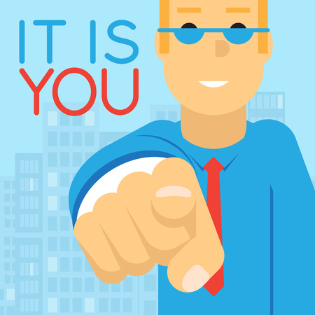 elected: Politician Businesman Pointing Finger to Potential Client Elected  Character  Concept Creative Flat Design Vector Illustration Illustration