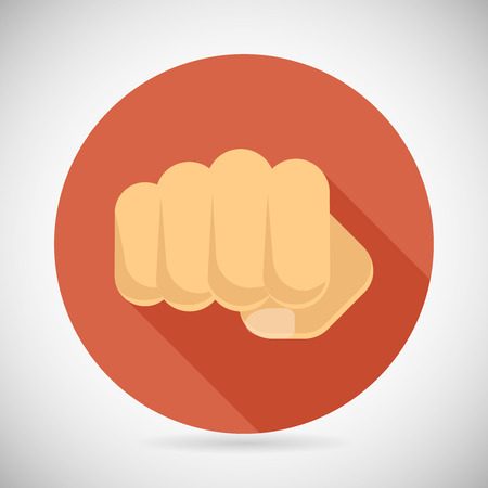 determination: Punch Fist Hand Palm Icon Social Power Courage Determination Symbol Concept Flat Design Vector Illustration Illustration