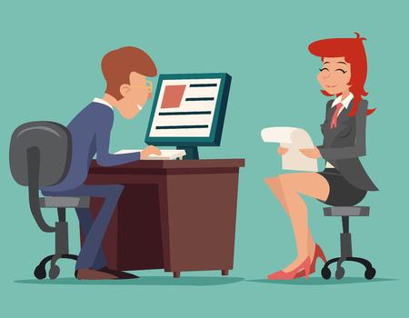puesto de trabajo: Entrevista de trabajo de tareas de negocios Conversaci�n en mesa de trabajo en Caracteres Icono de ordenador de fondo con estilo retro Ilustraci�n de dibujos animados de dise�o vectorial Vectores