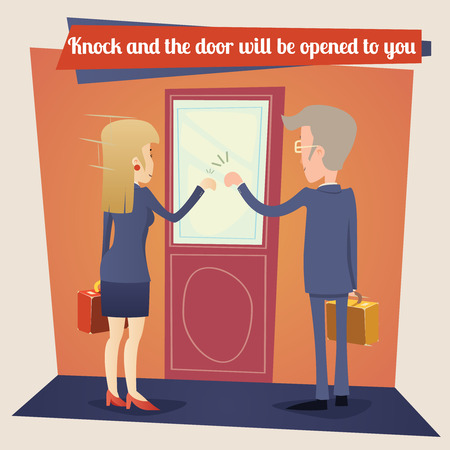 door: Businesswoman and Businessman with Briefcase Knocking at Customer Door Business Concept Template on Stylish Wall Background Retro Cartoon Design Vector Illustration